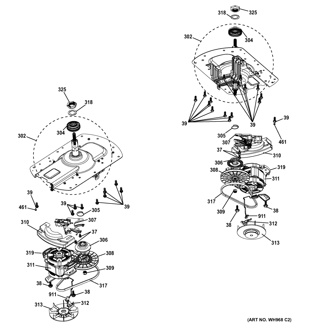 medium resolution of ge gtup270em5ww motor drive assembly diagram
