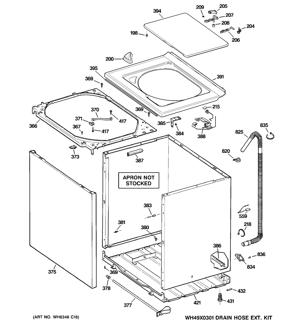 medium resolution of ge gtan5250d2ww cabinet cover front panel diagram