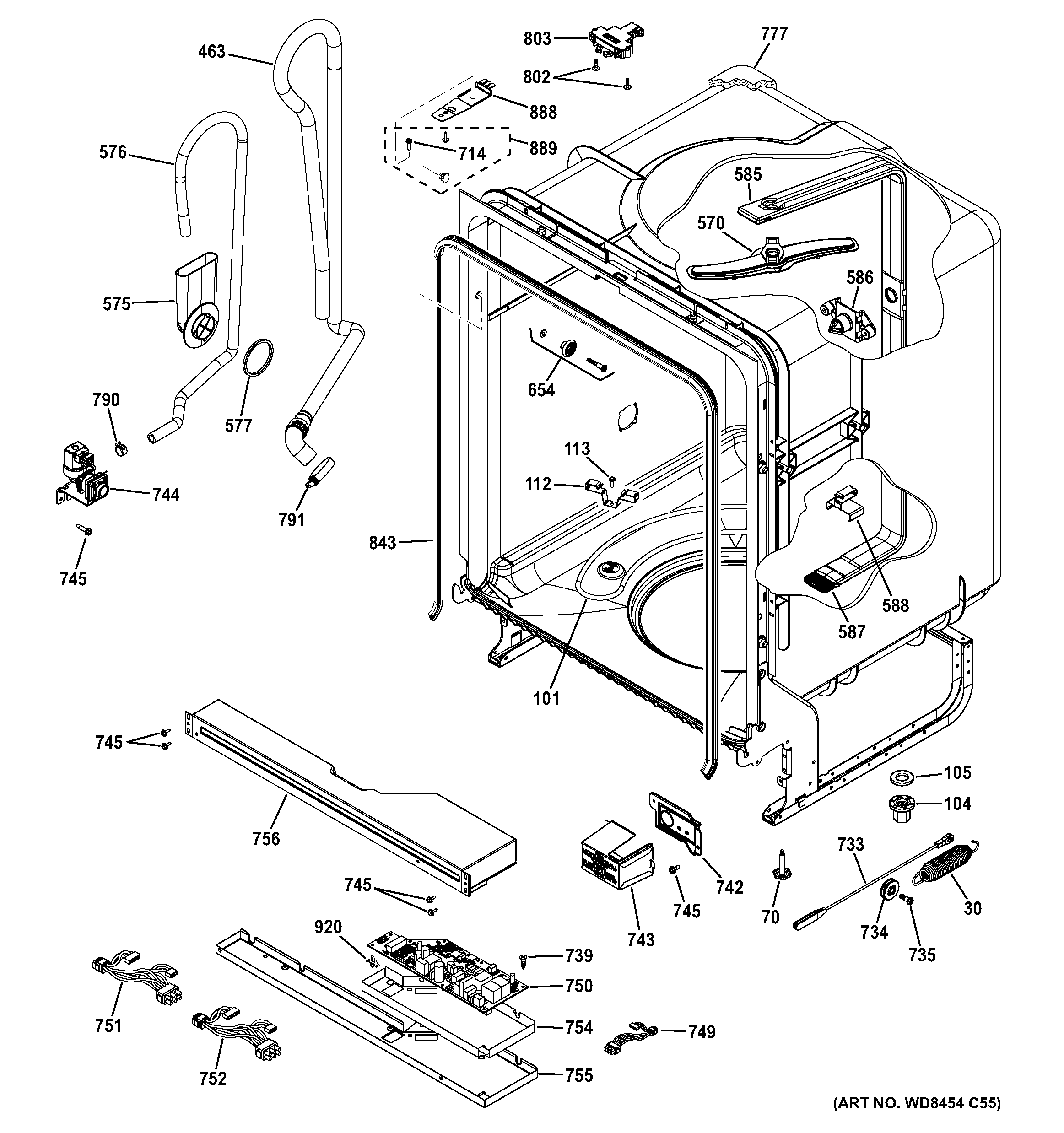 BODY PARTS Diagram & Parts List for Model adt521pgf2ws GE