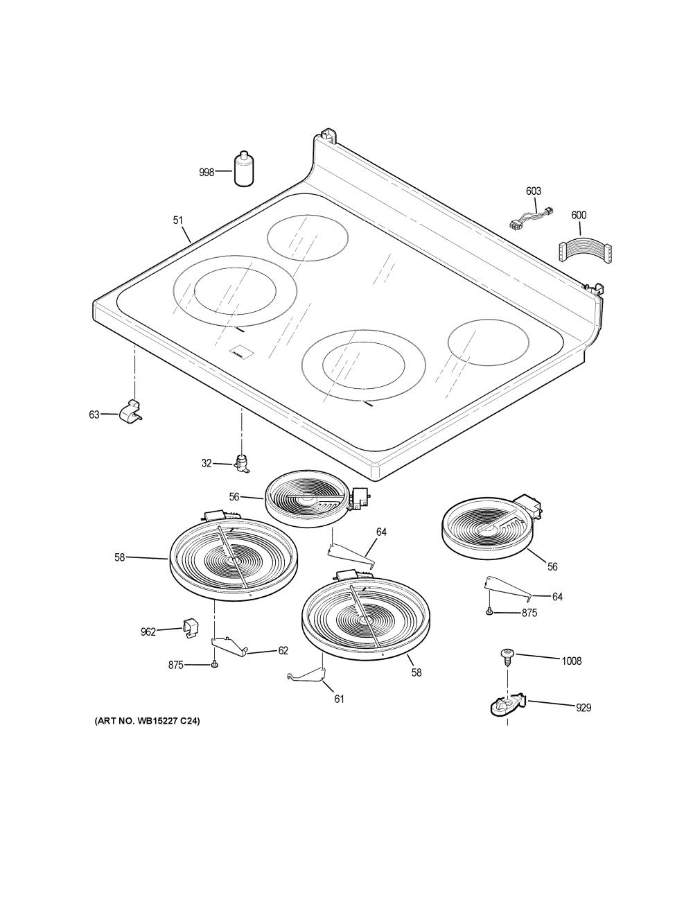 medium resolution of ge jb645dk3ww cooktop diagram