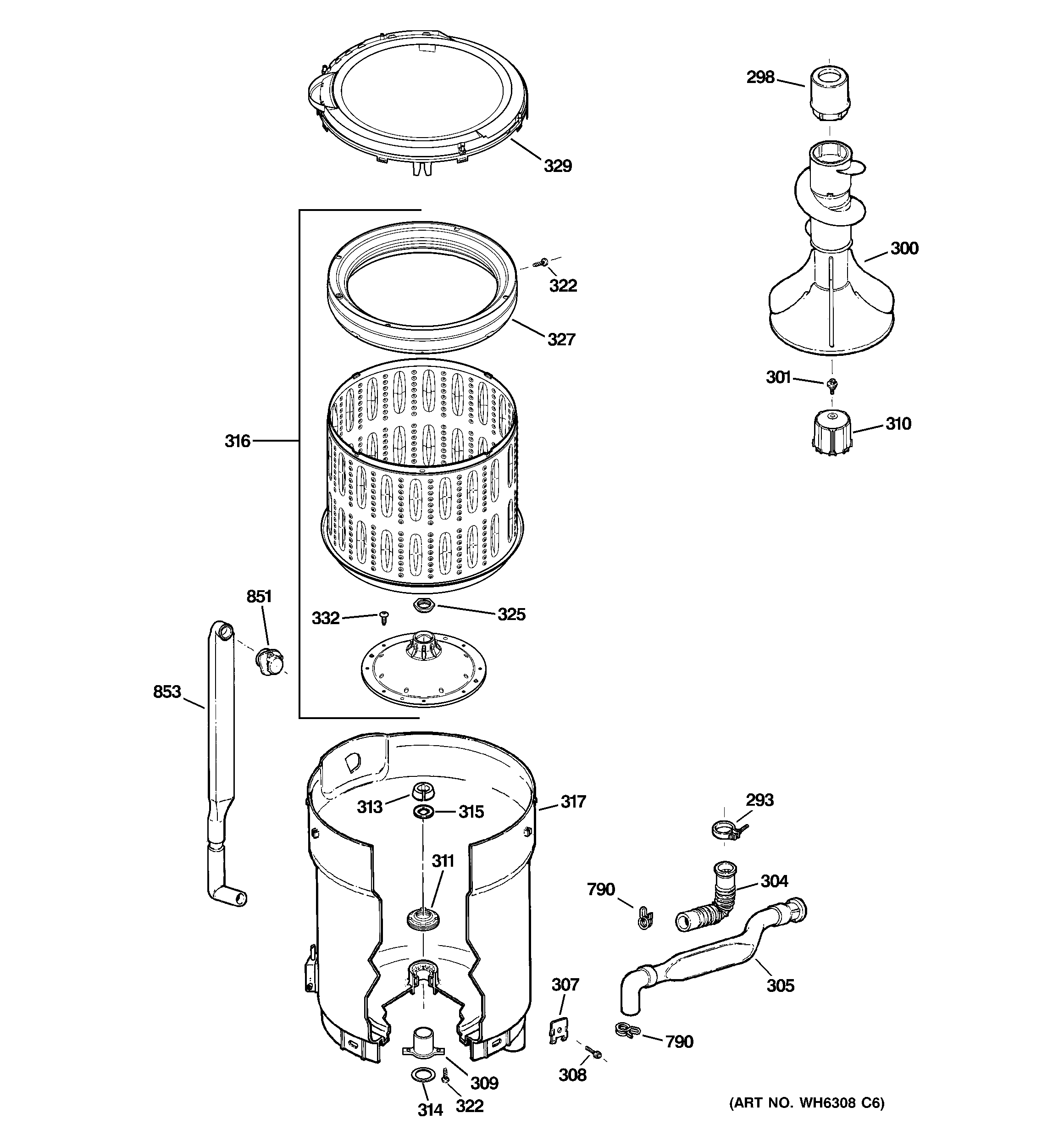 TUB, BASKET & AGITATOR Diagram & Parts List for Model