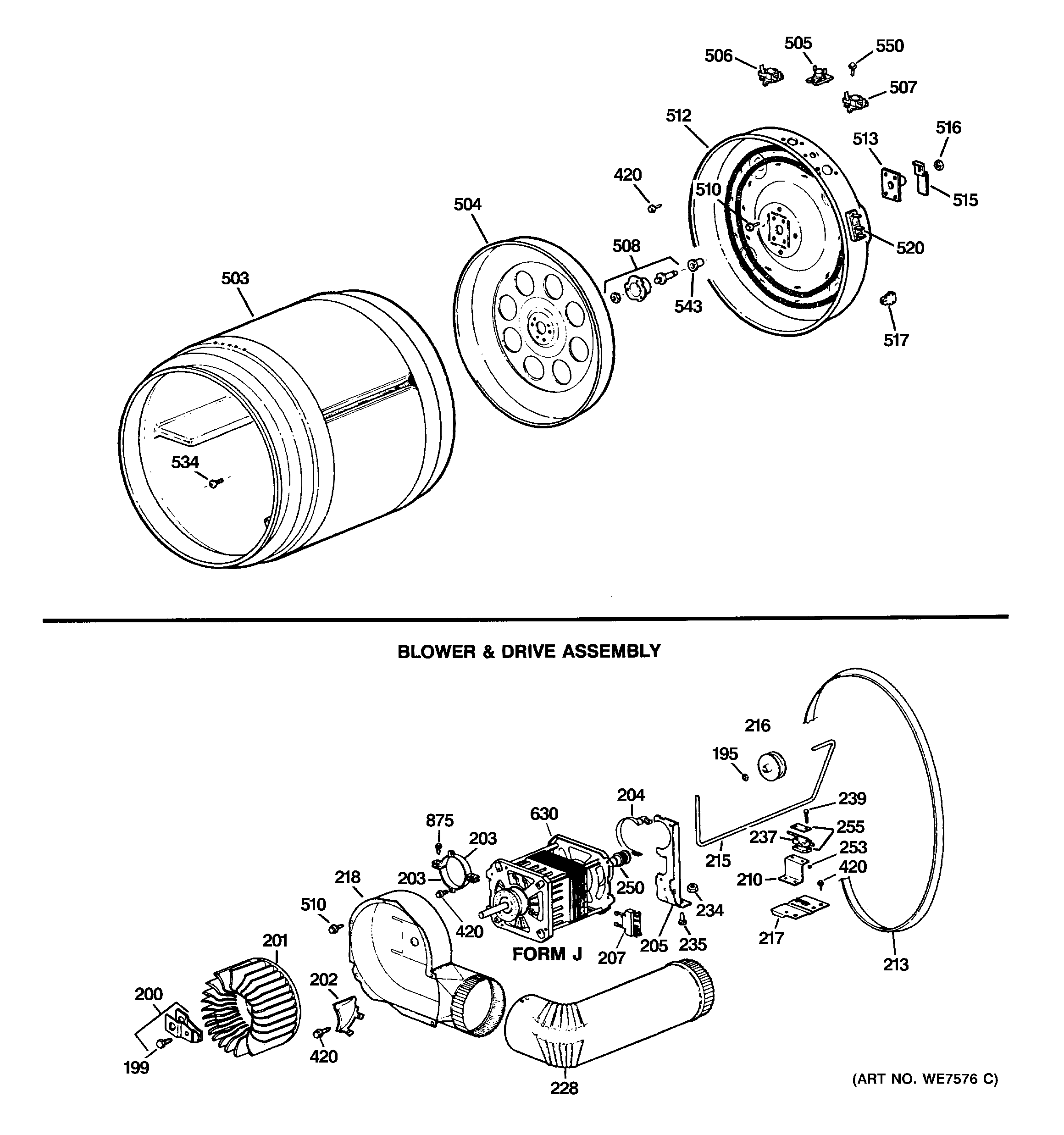 DRUM, BLOWER & DRIVE ASSEMBLY Diagram & Parts List for