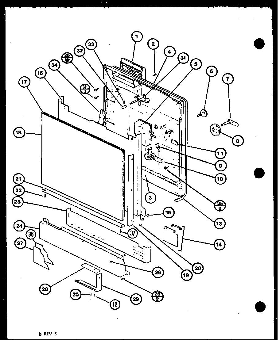 DOOR/PANEL Diagram & Parts List for Model du5000bp7712008w