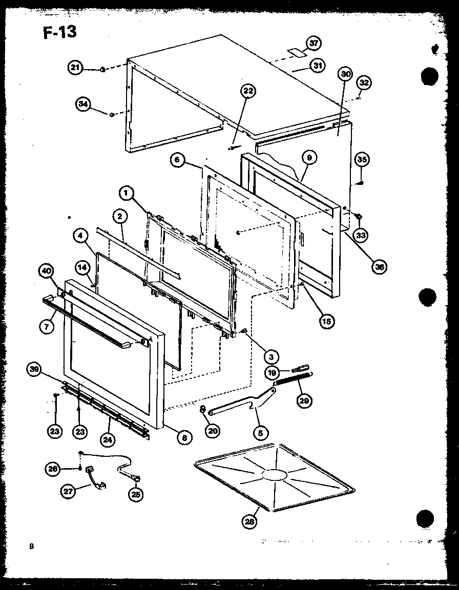 DOOR/OUTER CABINET Diagram & Parts List for Model