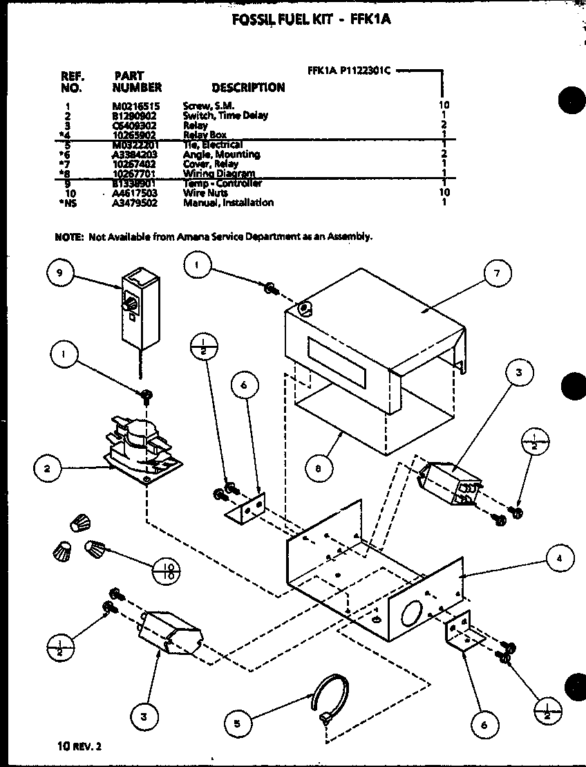 (FFK1A/P1122301C) Diagram & Parts List for Model