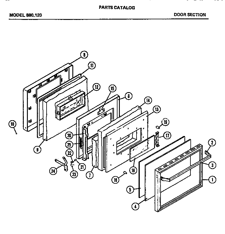 DOOR SECTION Diagram & Parts List for Model 880120 Amana