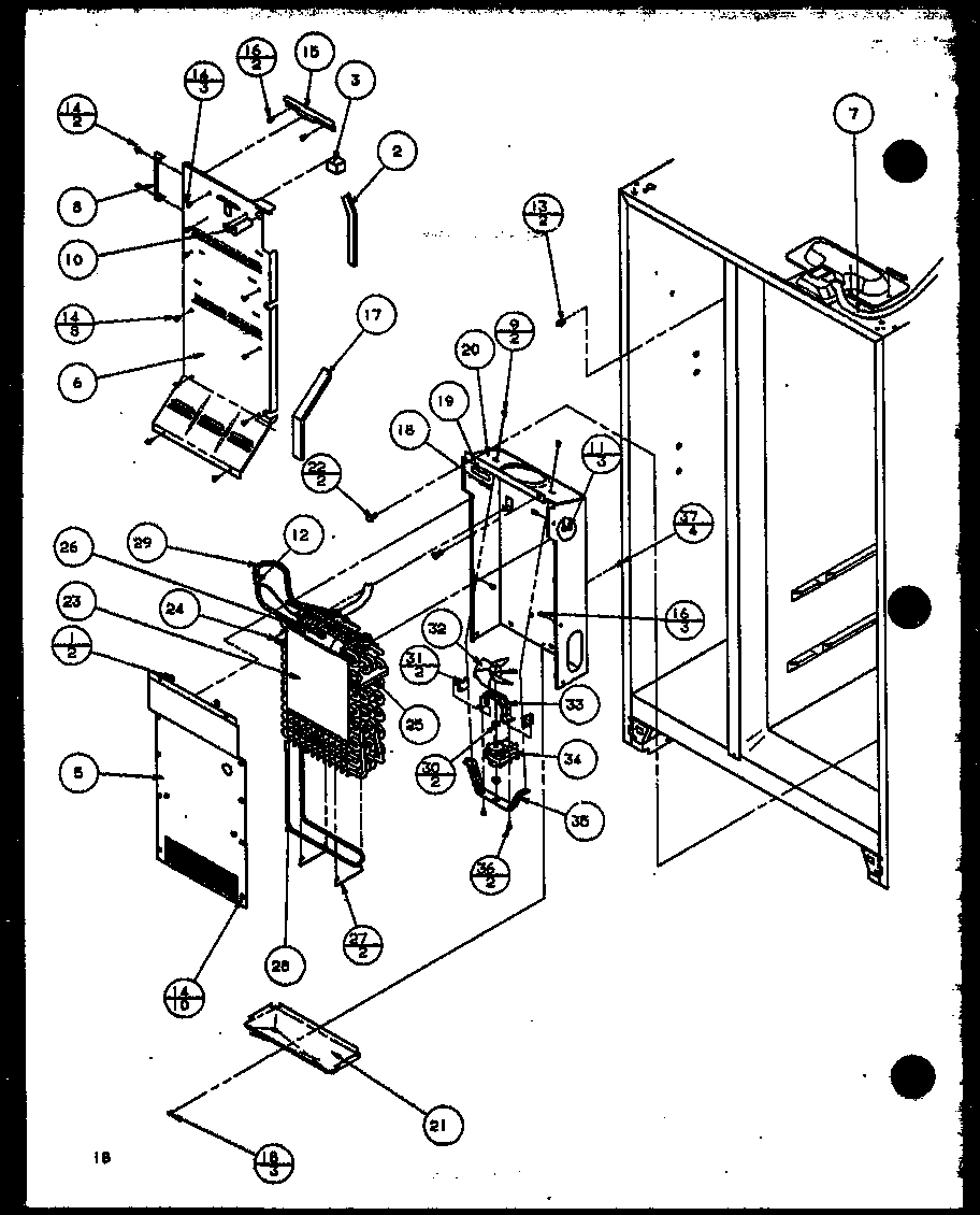 EVAPORATOR AND AIR HANDLING Diagram & Parts List for Model