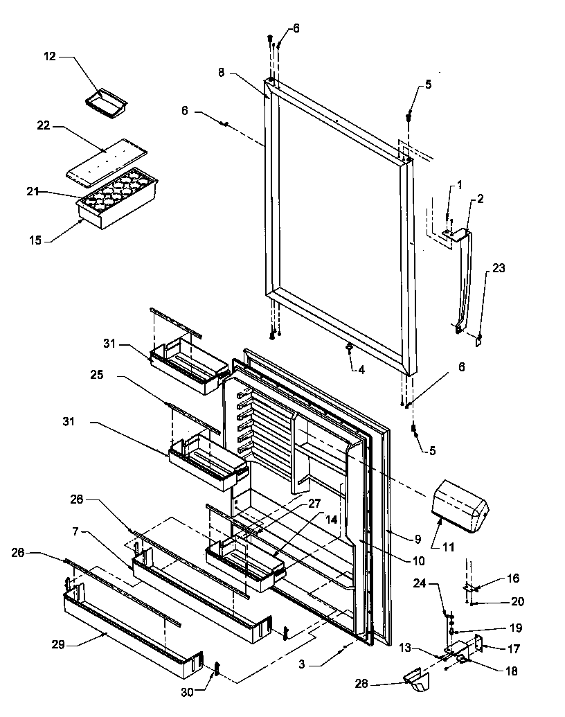REFRIGERATOR DOOR ASSEMBLY Diagram & Parts List for Model