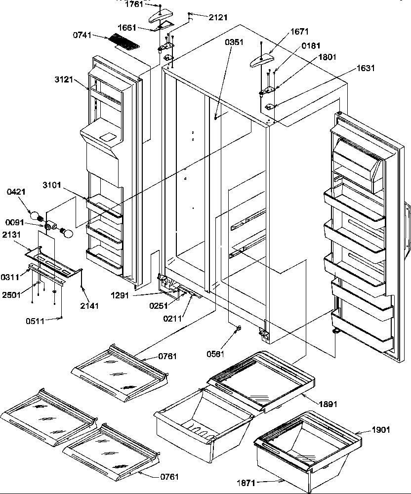 AMANA Side-By-Side Refrigerator Machine compartment Parts