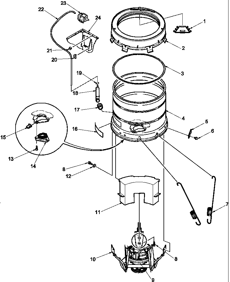 OUTER TUB, COVER, PRESSURE TUBE, AND COUNTERWEIGHT Diagram