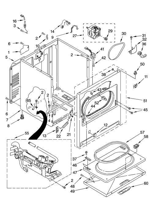 small resolution of kenmore model 11074832400 residential dryer genuine parts kenmore 90 series washer parts diagram kenmore 80 series
