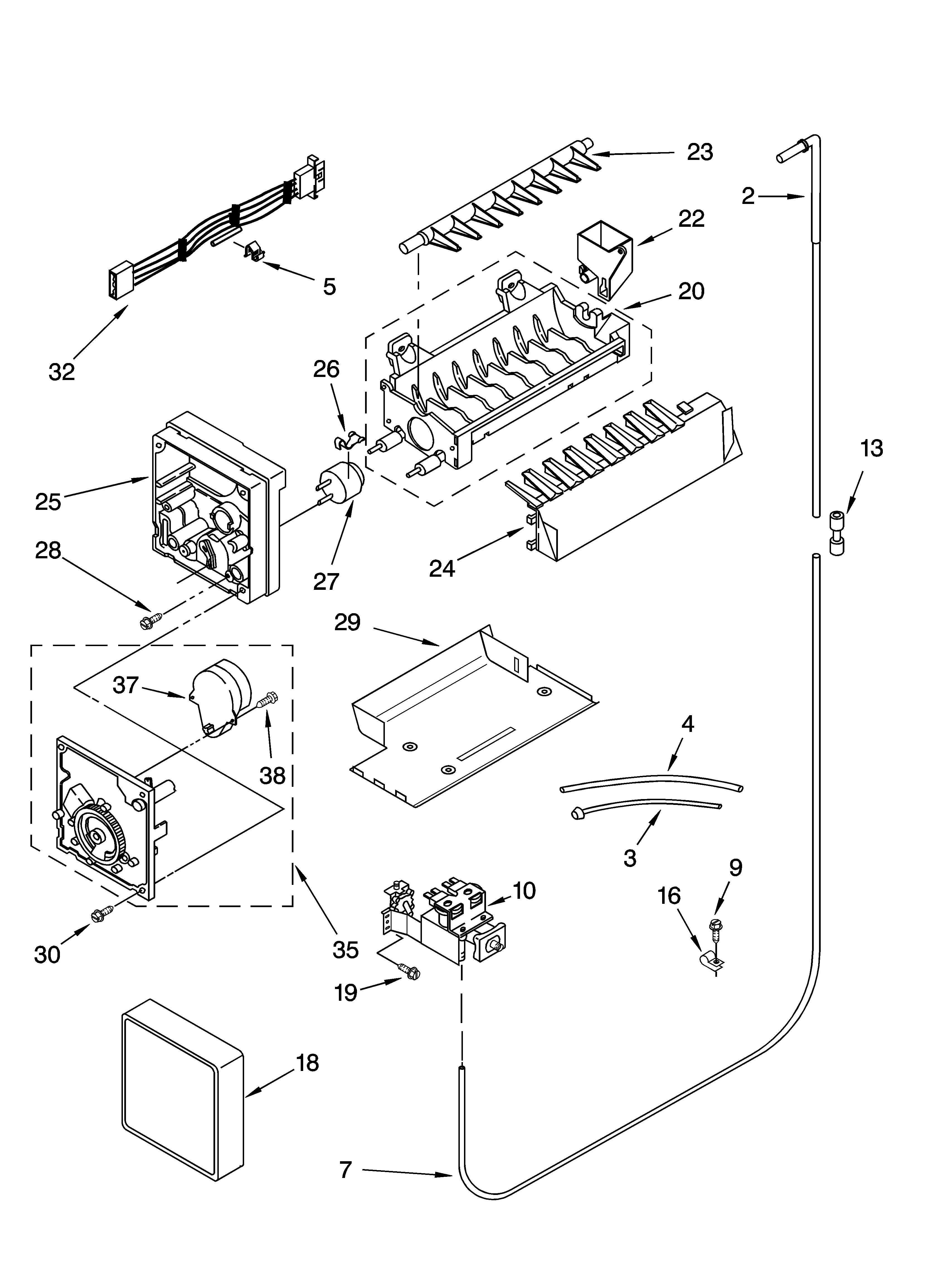 medium resolution of kenmore 10653669300 icemaker parts parts not illustrated diagram