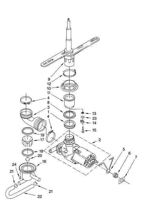 small resolution of kenmore 66517679400 pump and spray arm parts diagram