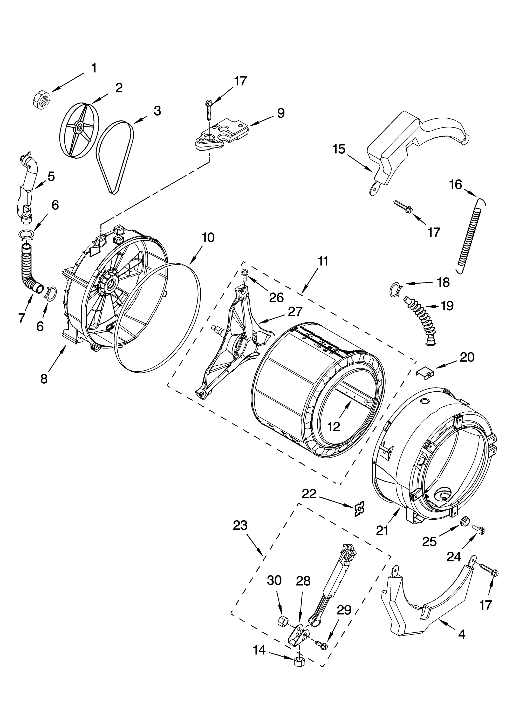 hight resolution of kenmore 11046462500 tub and basket parts optional parts not included diagram