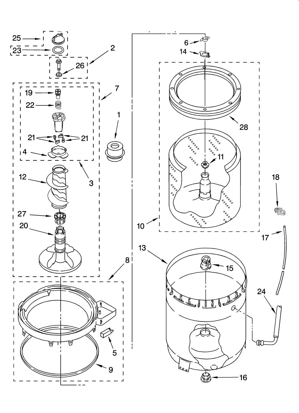 medium resolution of kenmore elite 11016942503 agitator basket and tub parts diagram