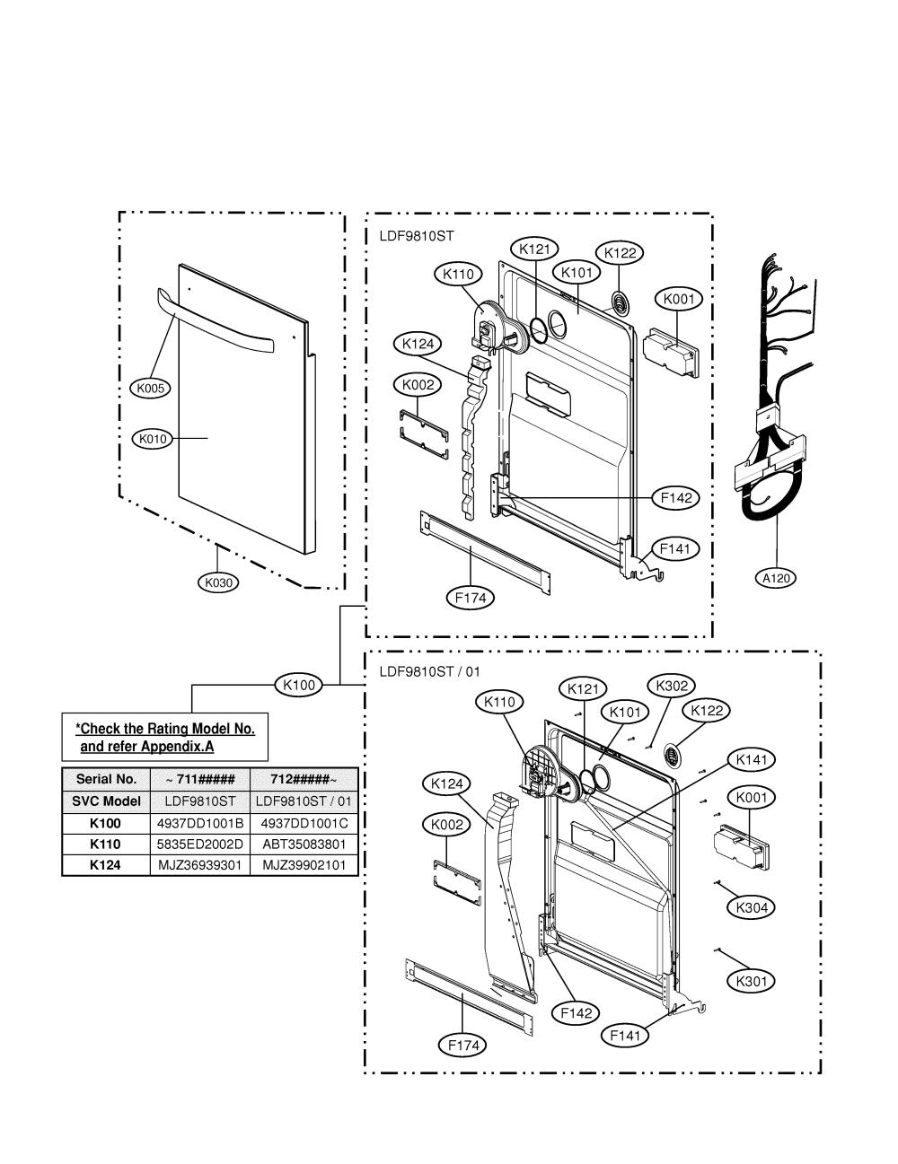 medium resolution of lg ldf9810st door diagram