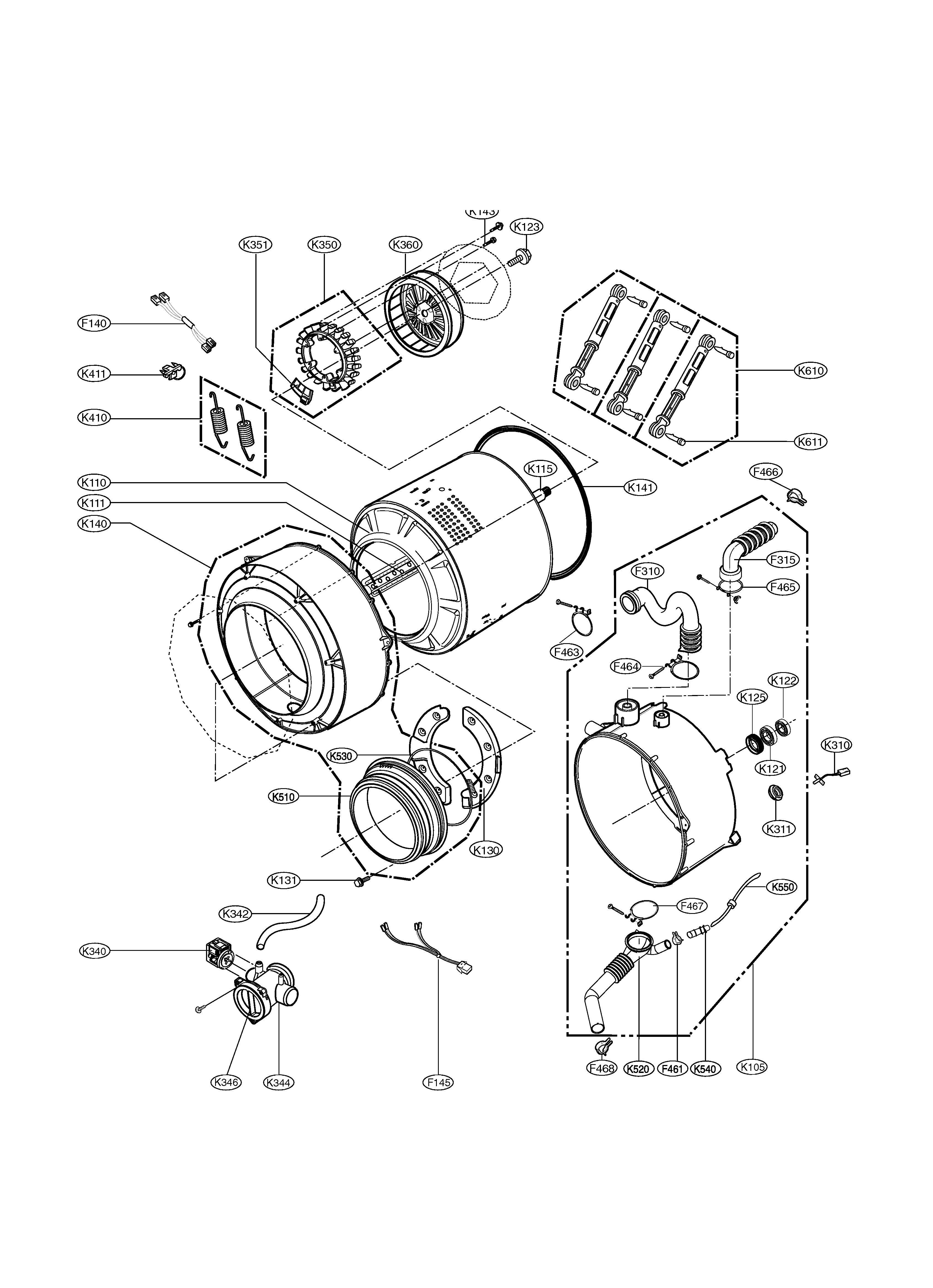 DRUM & TUB Diagram & Parts List for Model WM1814CW LG