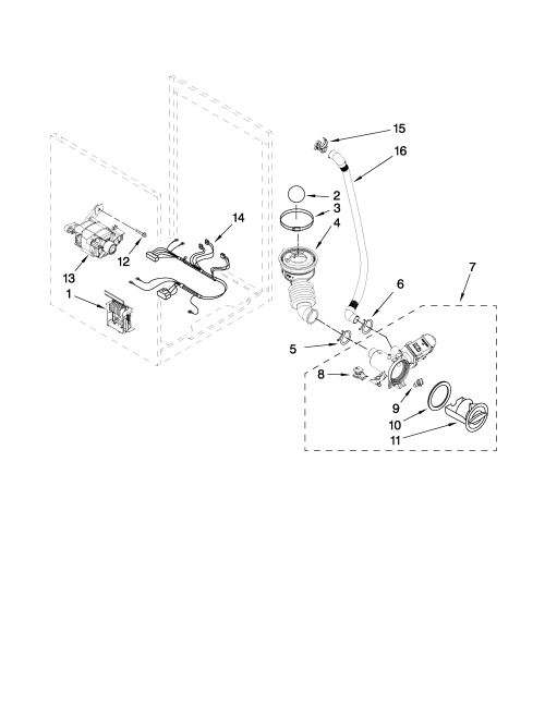 small resolution of kenmore elite 11049962600 pump and motor parts diagram