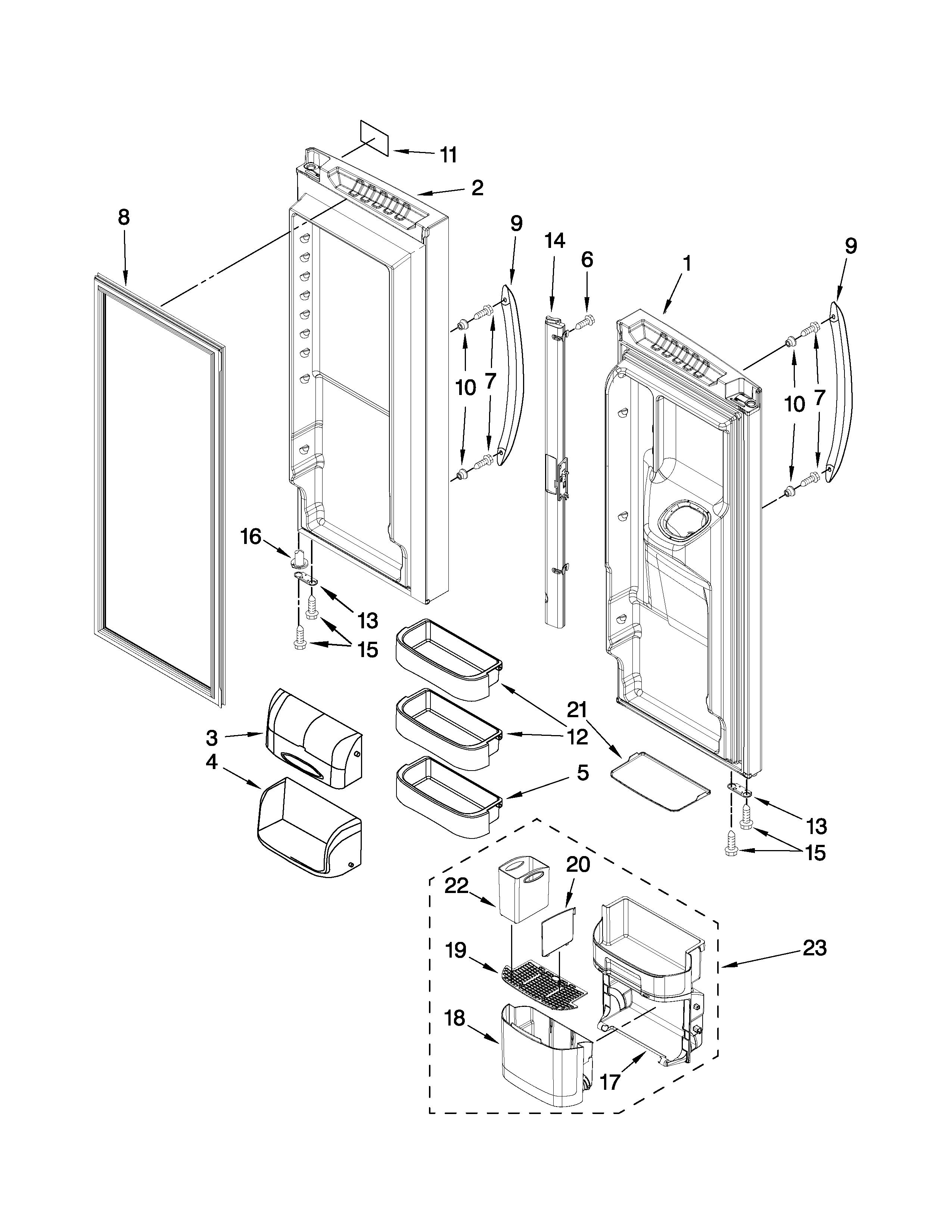 KENMORE ELITE Bottom-Mount Refrigerator Cabinet Parts