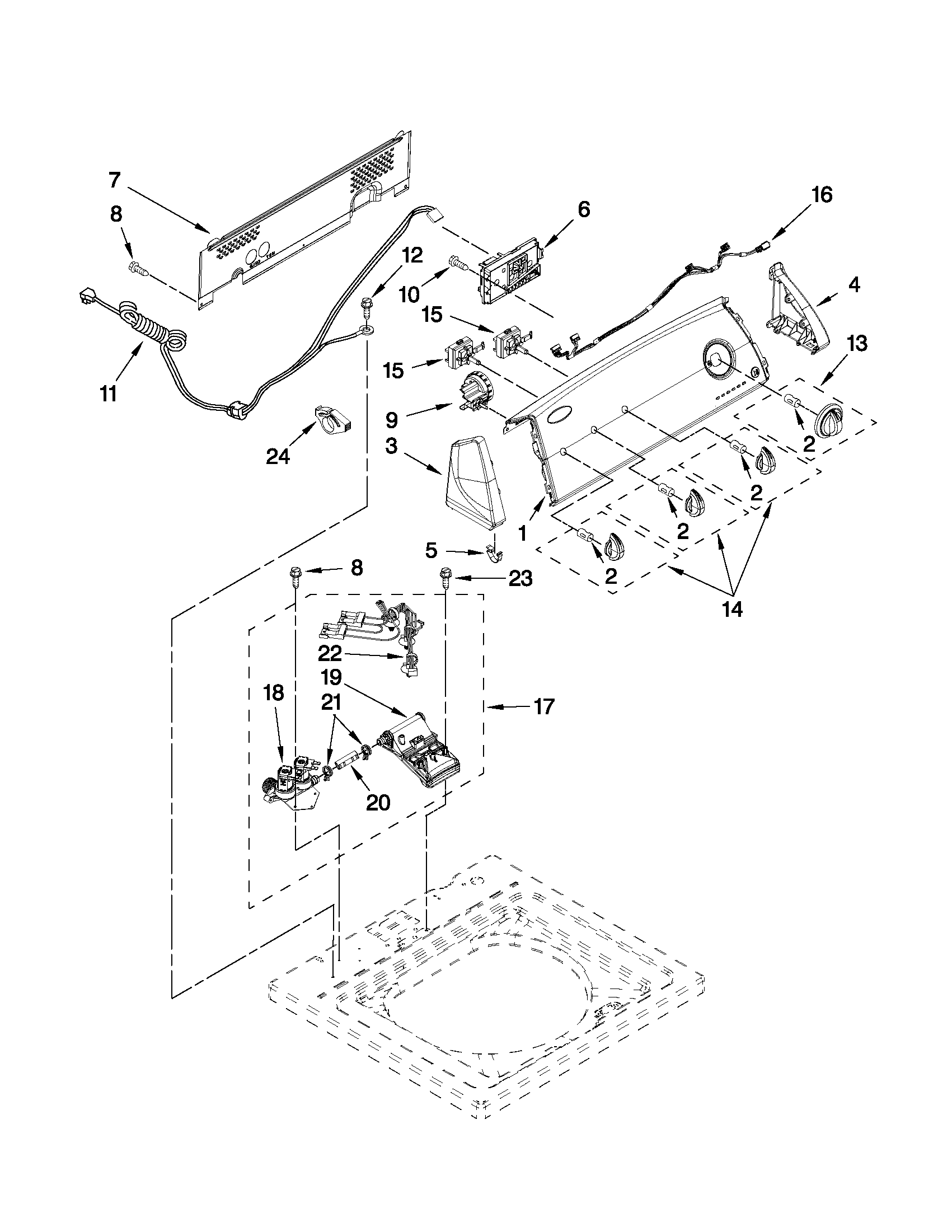 CONSOLE AND WATER INLET PARTS Diagram & Parts List for