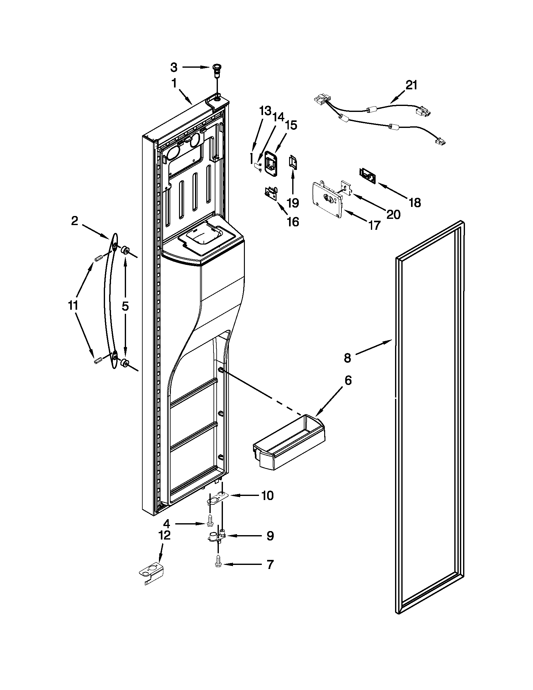 FREEZER DOOR Diagram & Parts List for Model 10651169210