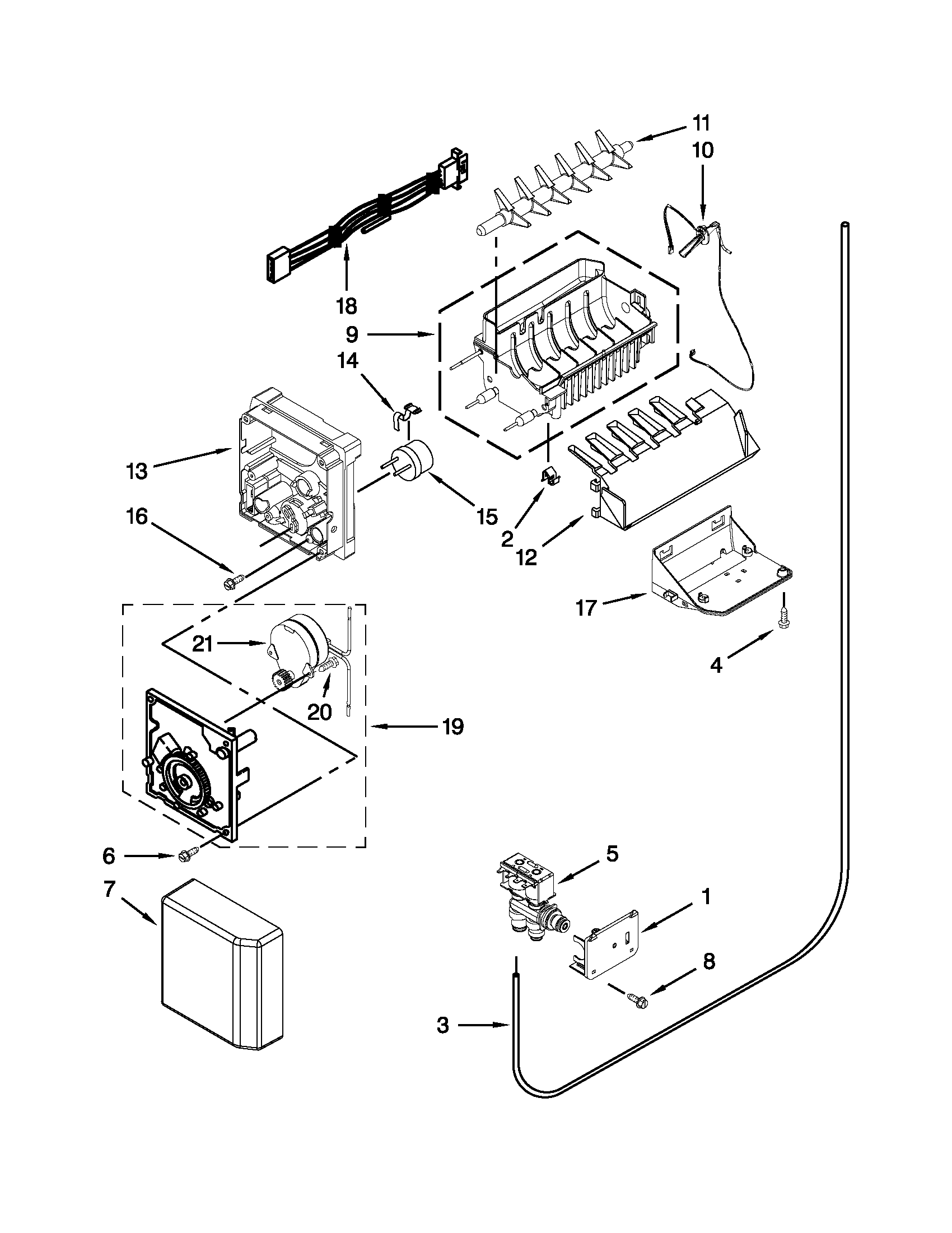 ICE MAKER Diagram & Parts List for Model 10641162310