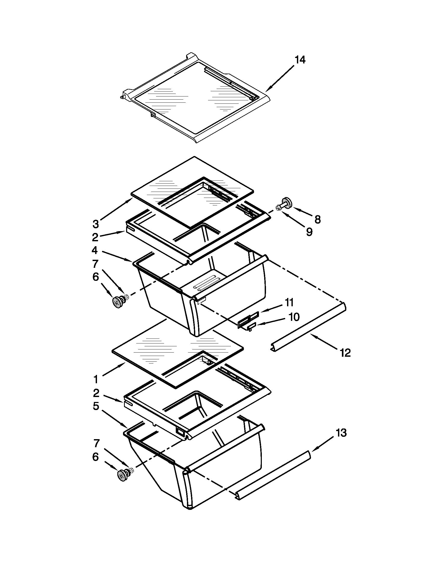 hight resolution of kenmore 10650023211 refrigerator shelf parts diagram