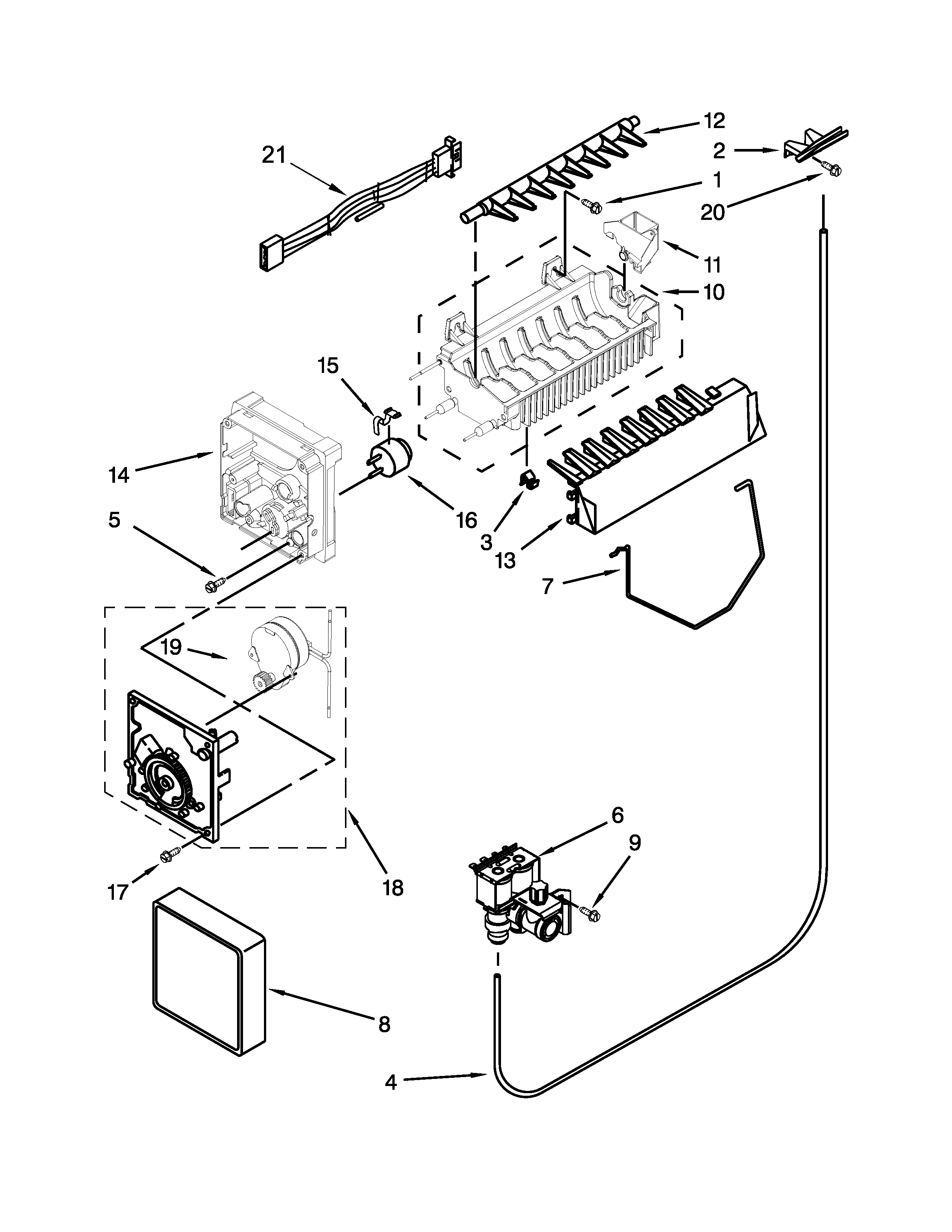 ICE MAKER PARTS Diagram & Parts List for Model 10651122211