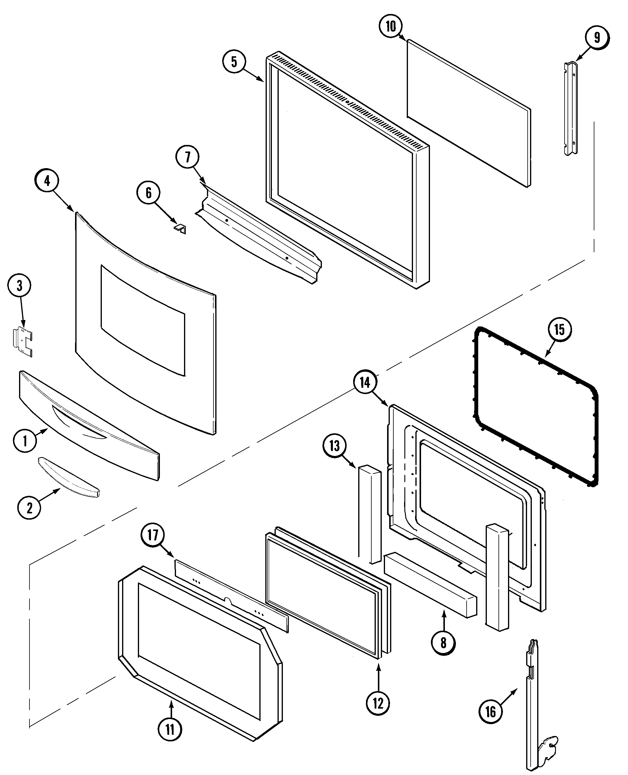 DOOR Diagram & Parts List for Model jmw9530bab Jenn-air