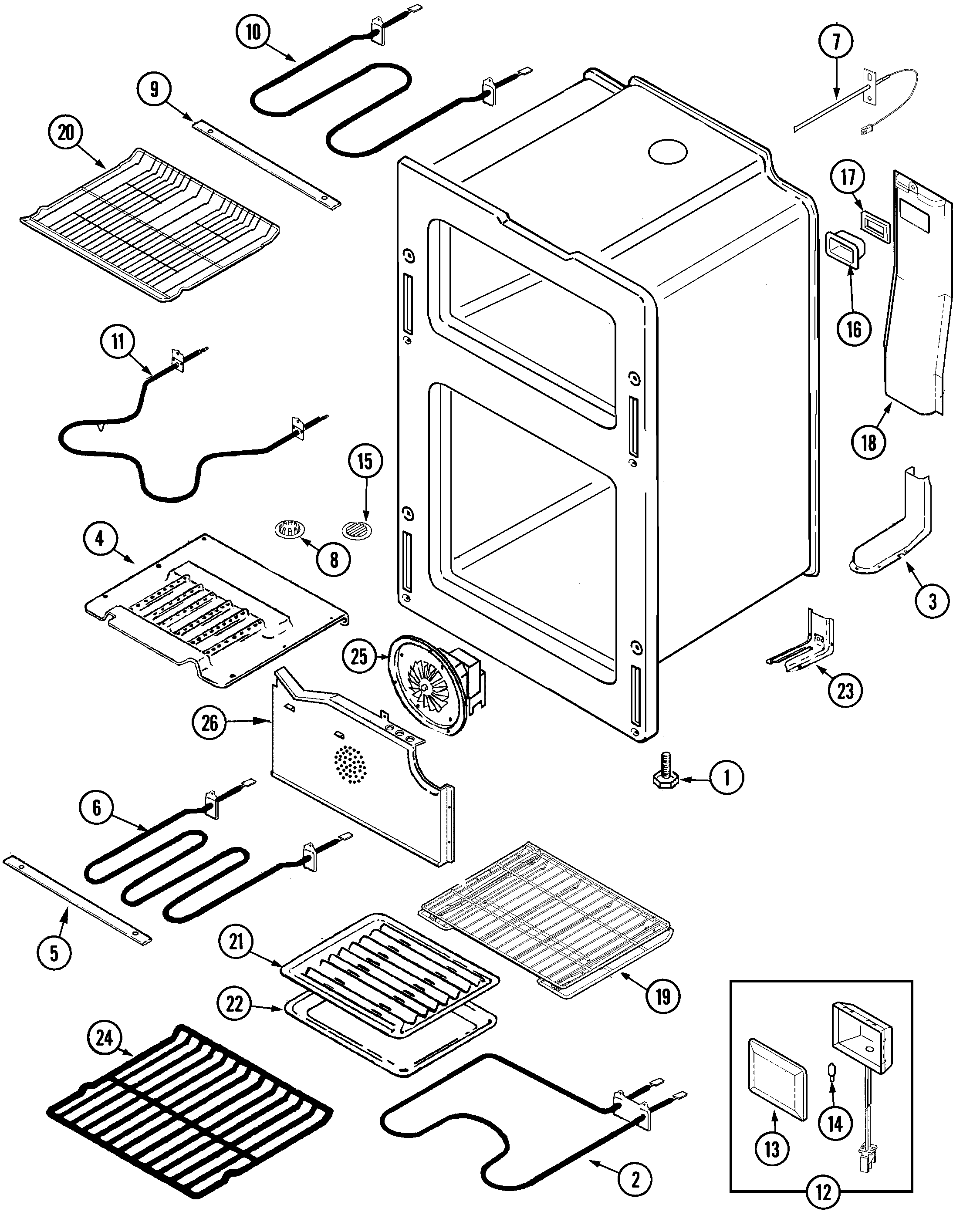 OVEN Diagram & Parts List for Model MER6870AAQ Maytag