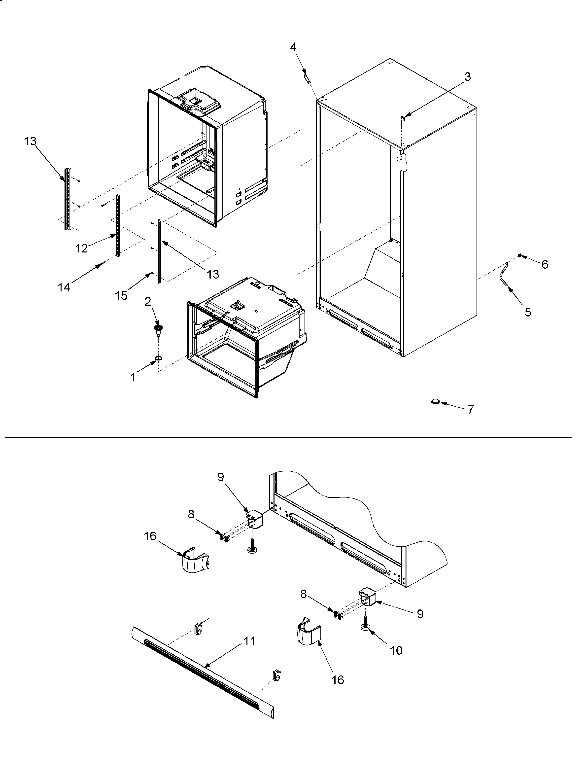INTERIOR CABINET Diagram & Parts List for Model