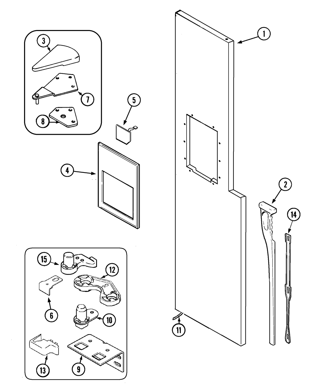 medium resolution of maytag mzd2766geq freezer outer door diagram