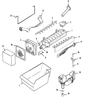 ICE MAKER Diagram & Parts List for Model mtf2155grw Maytag