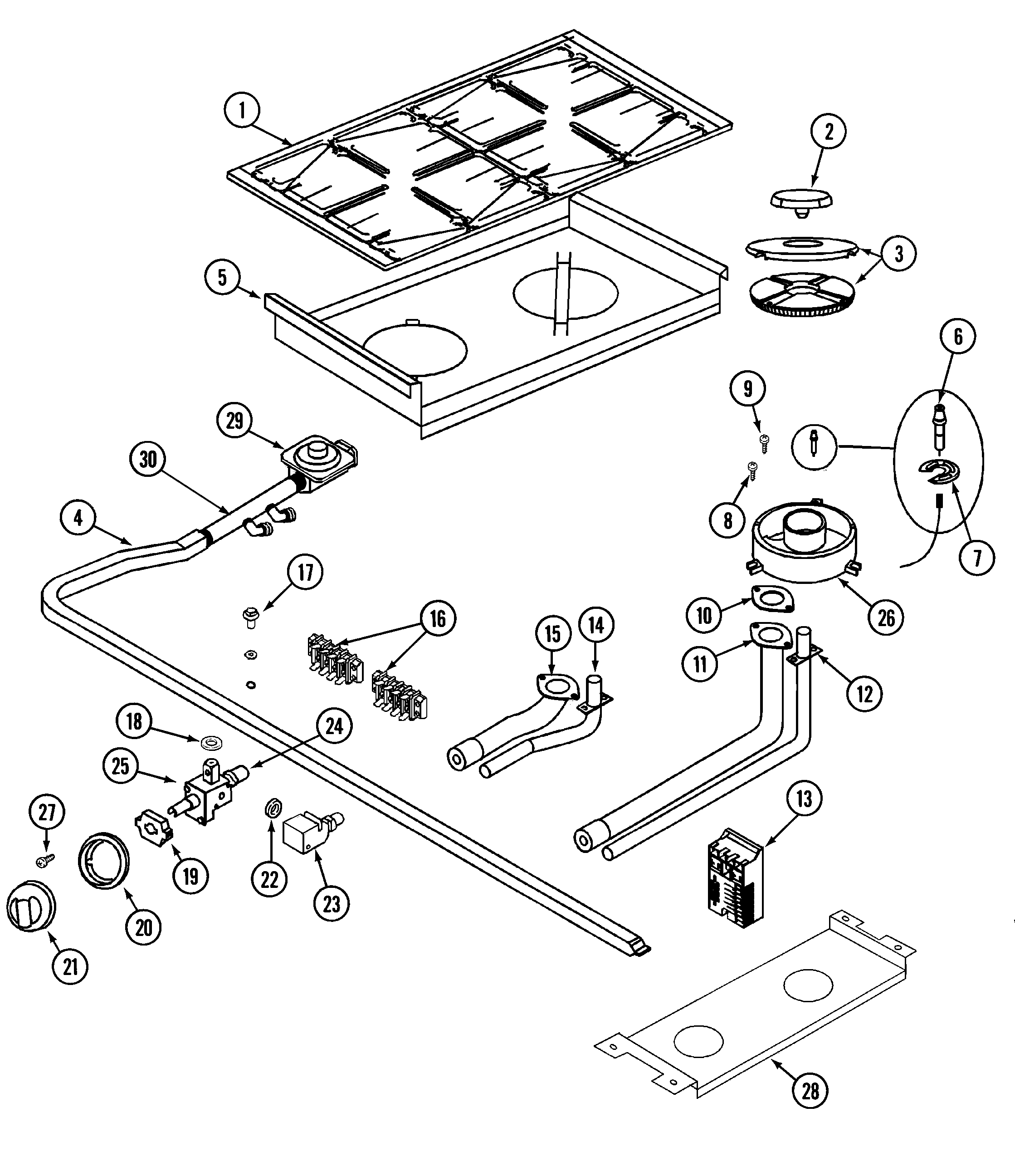 TOP ASSEMBLY & CONTROLS Diagram & Parts List for Model