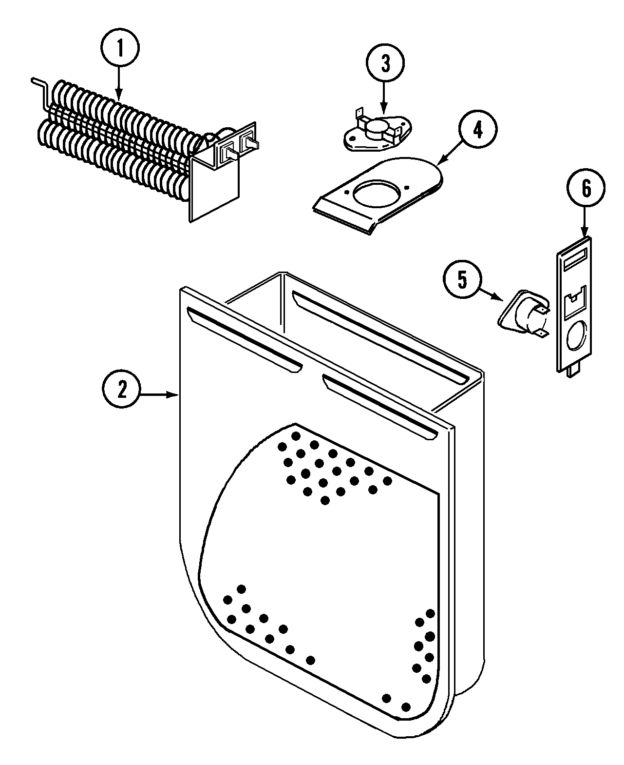 HEATER Diagram & Parts List for Model CDE6000W Crosley
