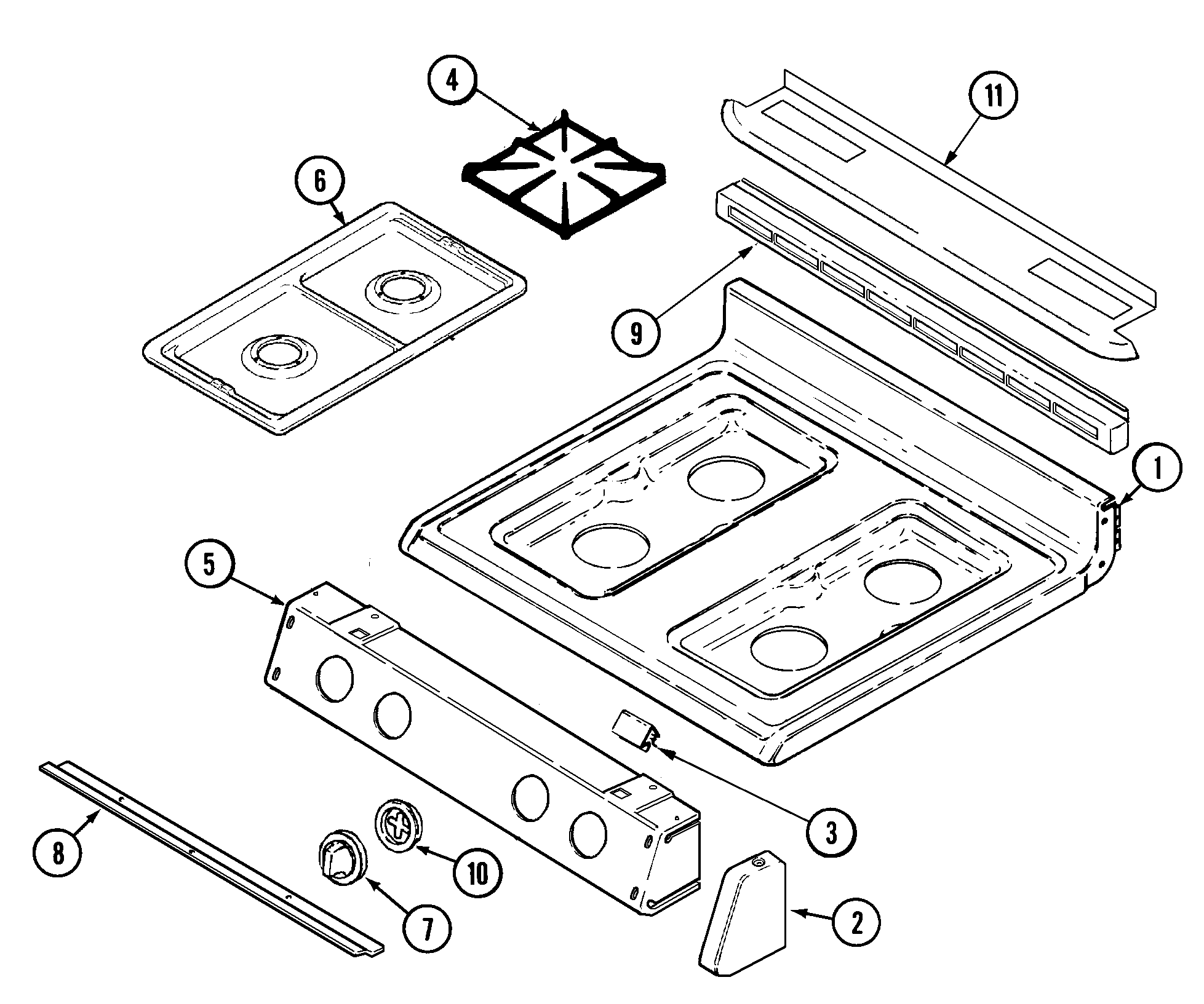 TOP ASSEMBLY Diagram & Parts List for Model mgr5770adw