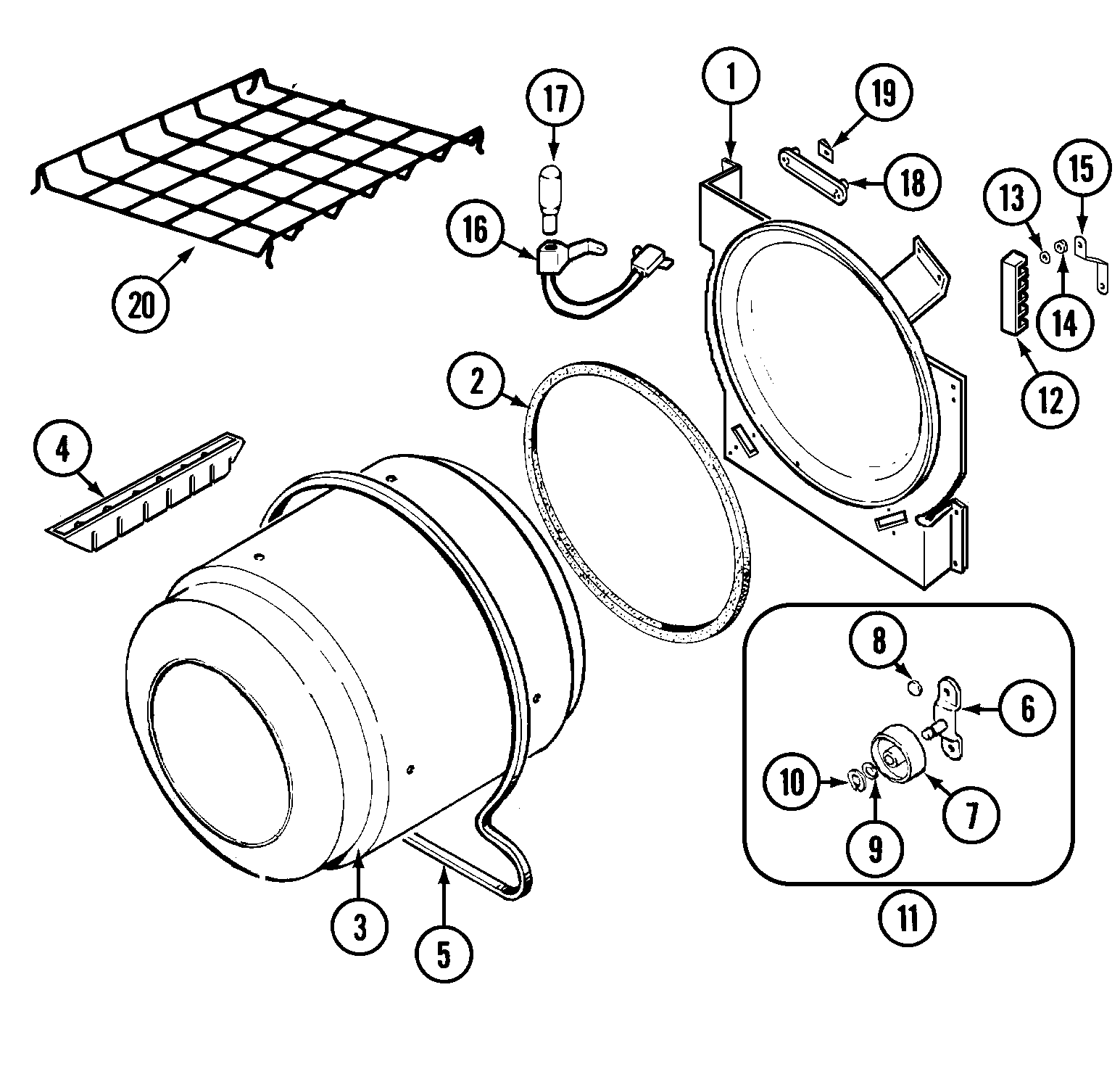 TUMBLER Diagram & Parts List for Model lnc8766b71 Admiral
