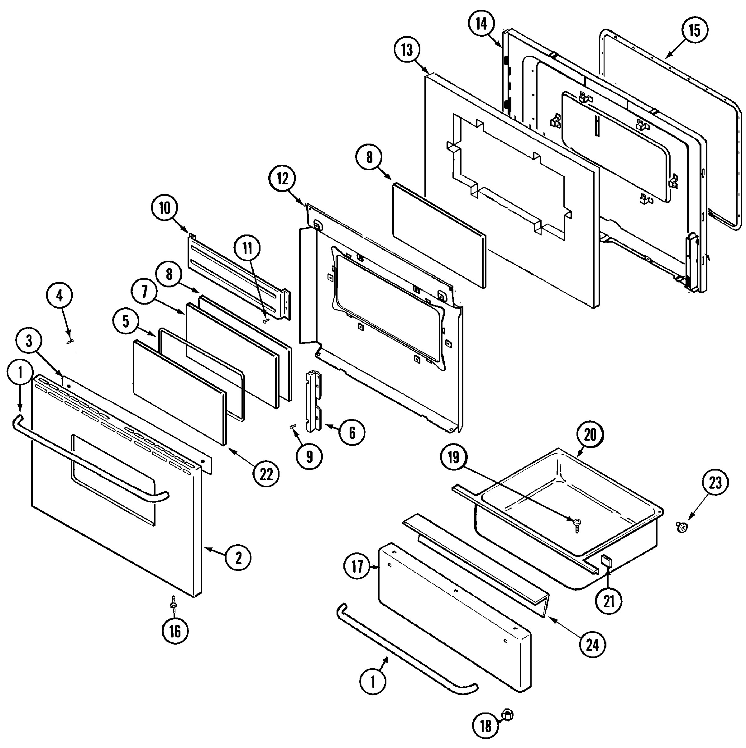 DOOR/DRAWER (ADC) Diagram & Parts List for Model