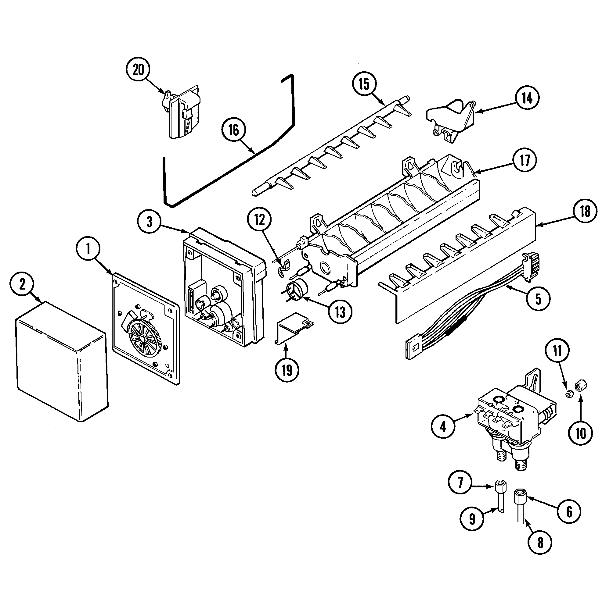 ICE MAKER Diagram & Parts List for Model gc2227dedb Maytag