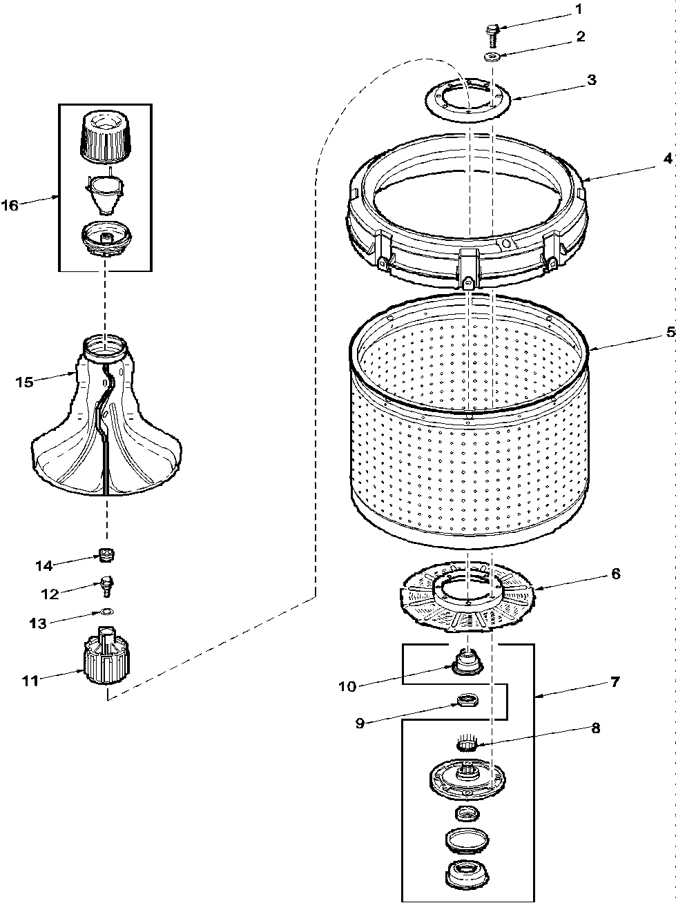 Amana Washer-Top Loading Miscellaeous information Parts