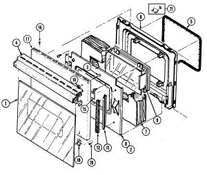 DOOR Diagram & Parts List for Model 9895vrv MagicchefParts WallOvenParts | SearsPartsDirect