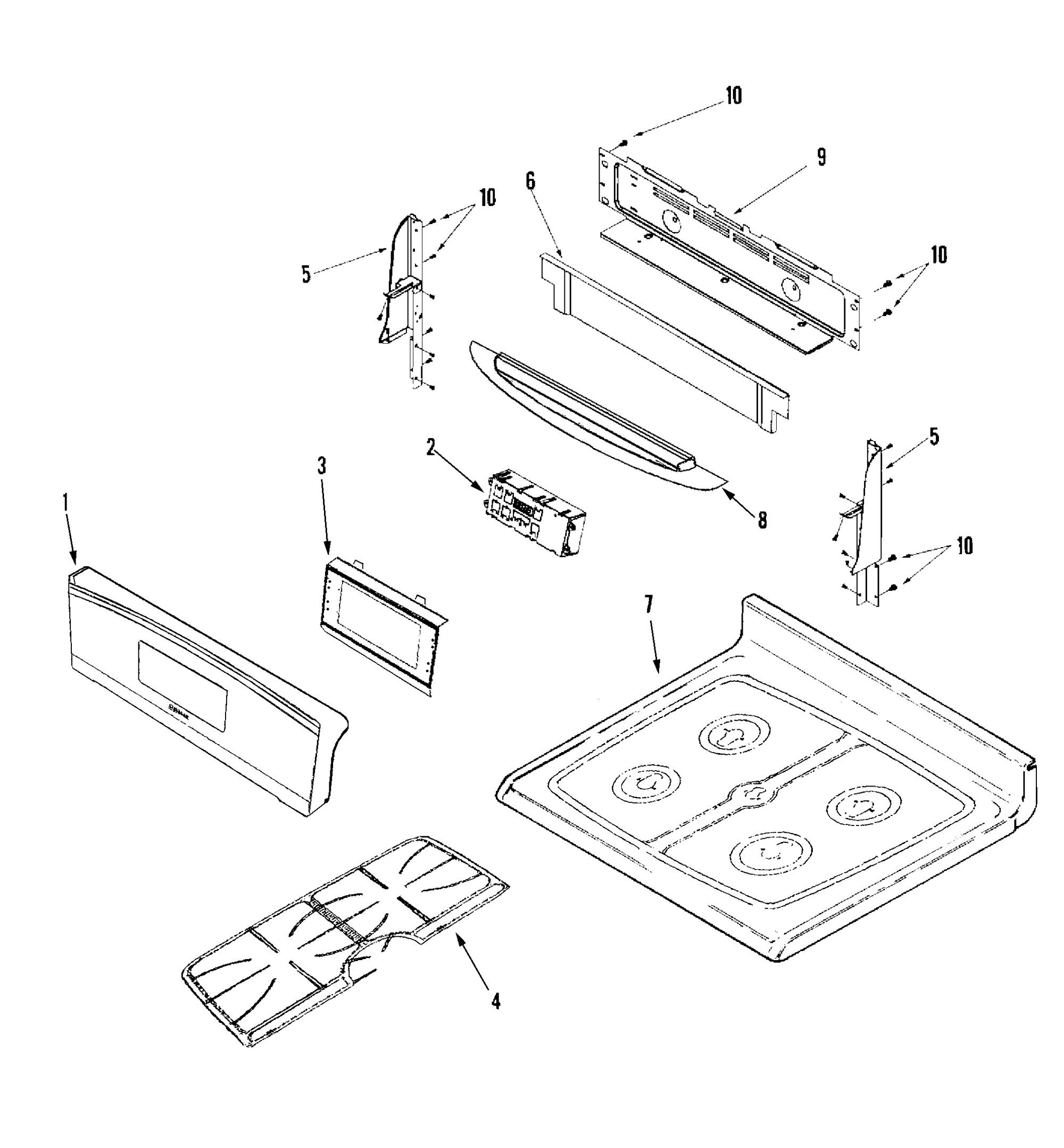 hight resolution of jenn air jgr8875qds control panel top assembly diagram