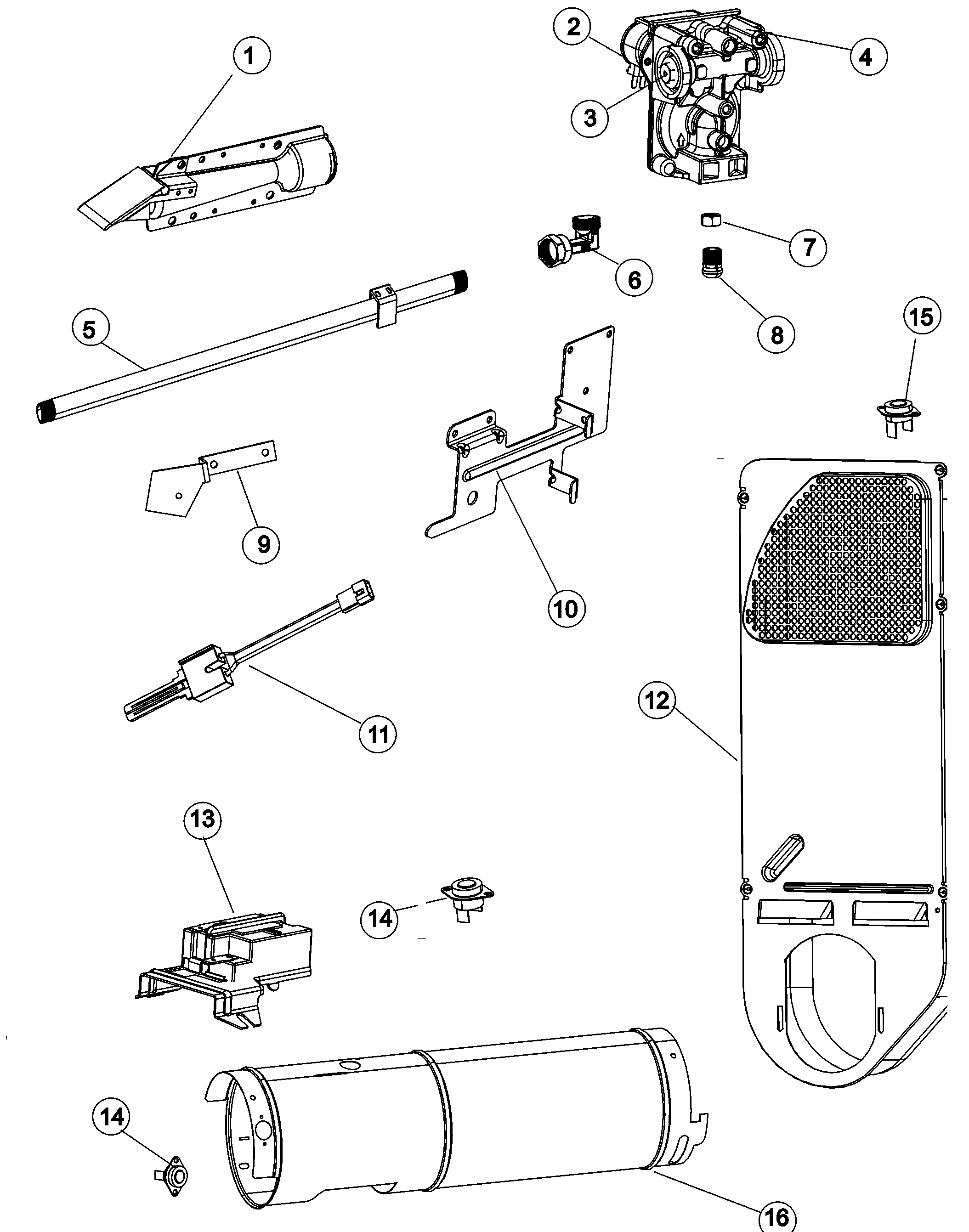 GAS CARRYING Diagram & Parts List for Model adg7000aww