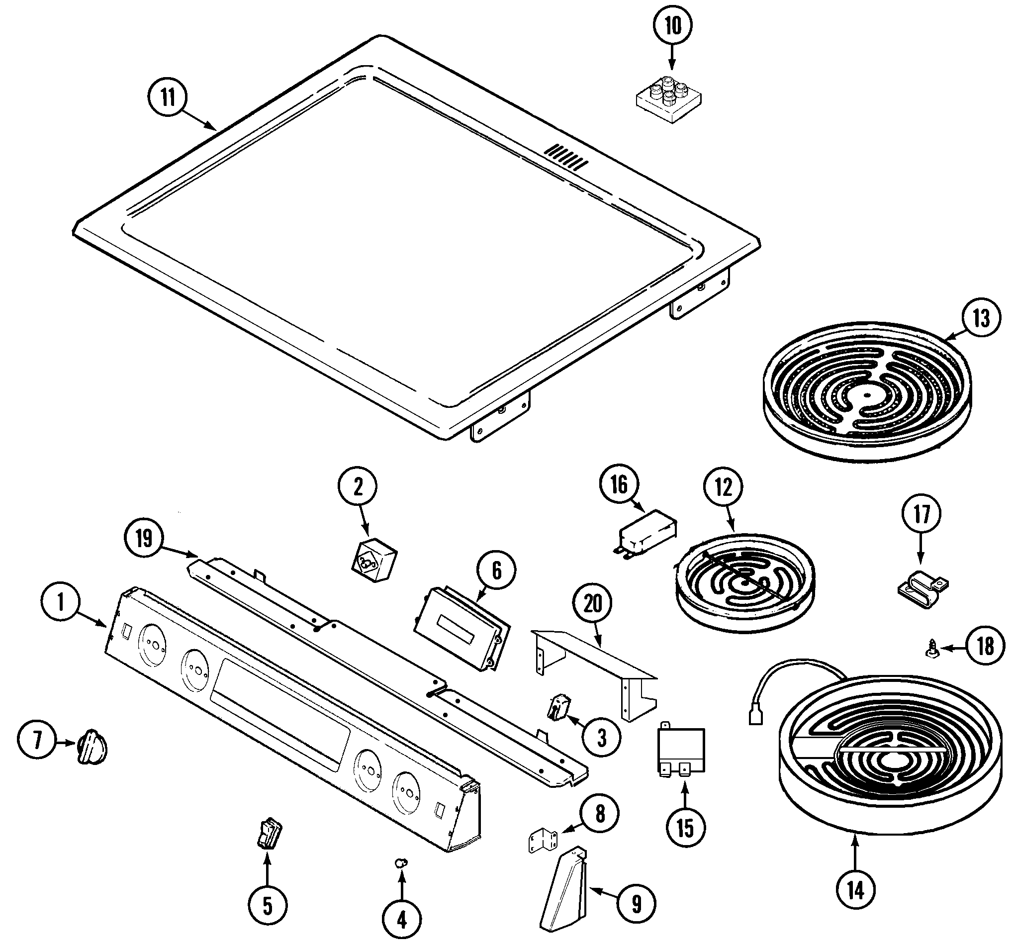 TOP ASSEMBLY Diagram & Parts List for Model mes5770aab