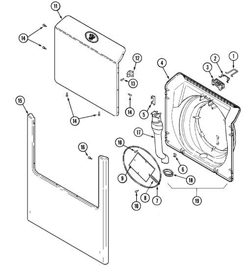 small resolution of maytag mah3000aww door front panel diagram