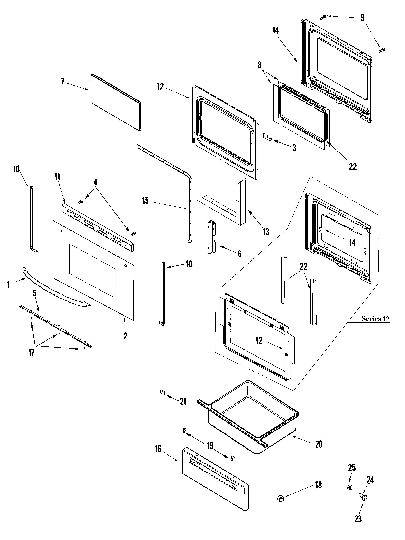DOOR/DRAWER Diagram & Parts List for Model merh752bab