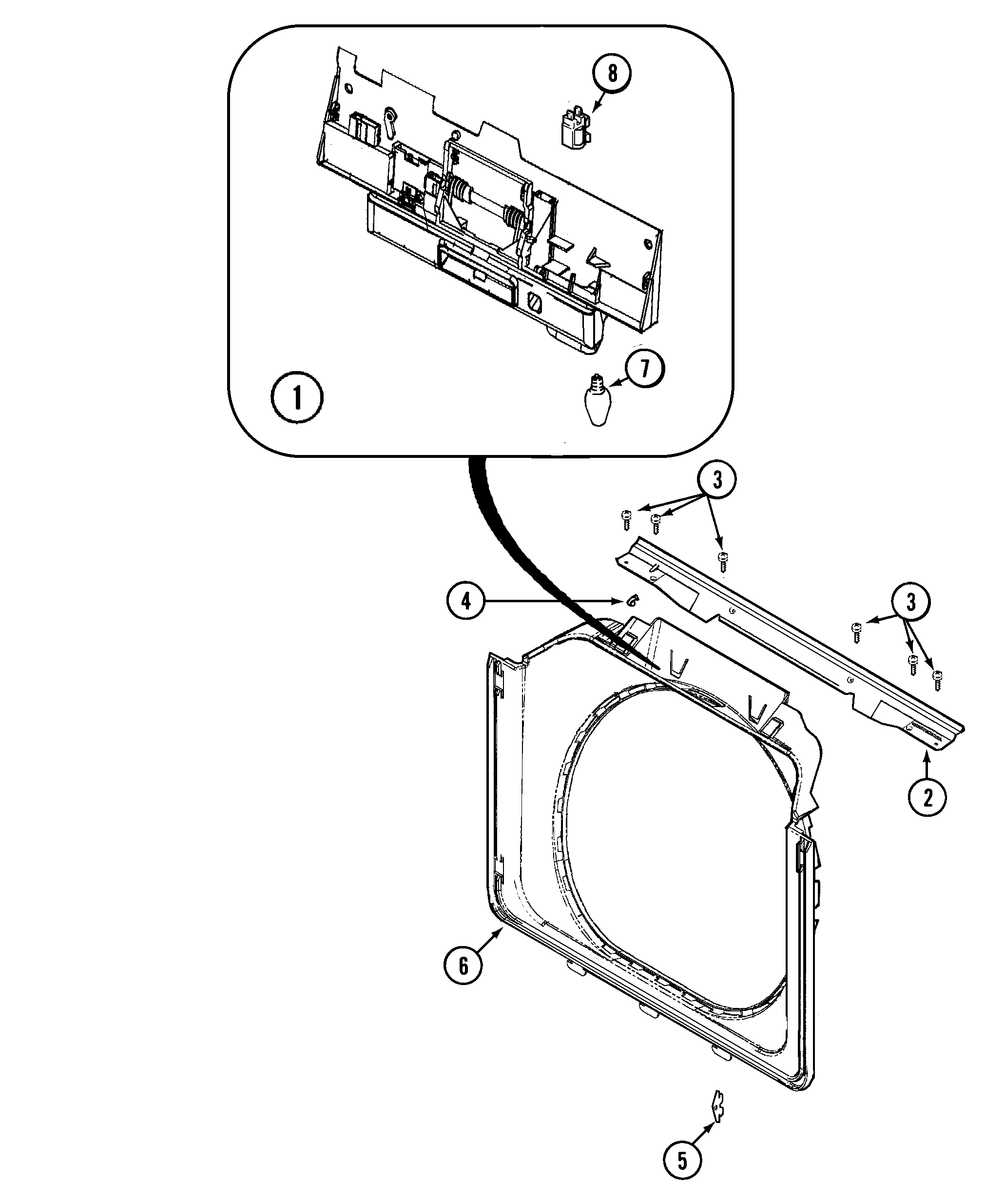 DOOR SHROUD & DOOR LATCH ASSEMBLY Diagram & Parts List for