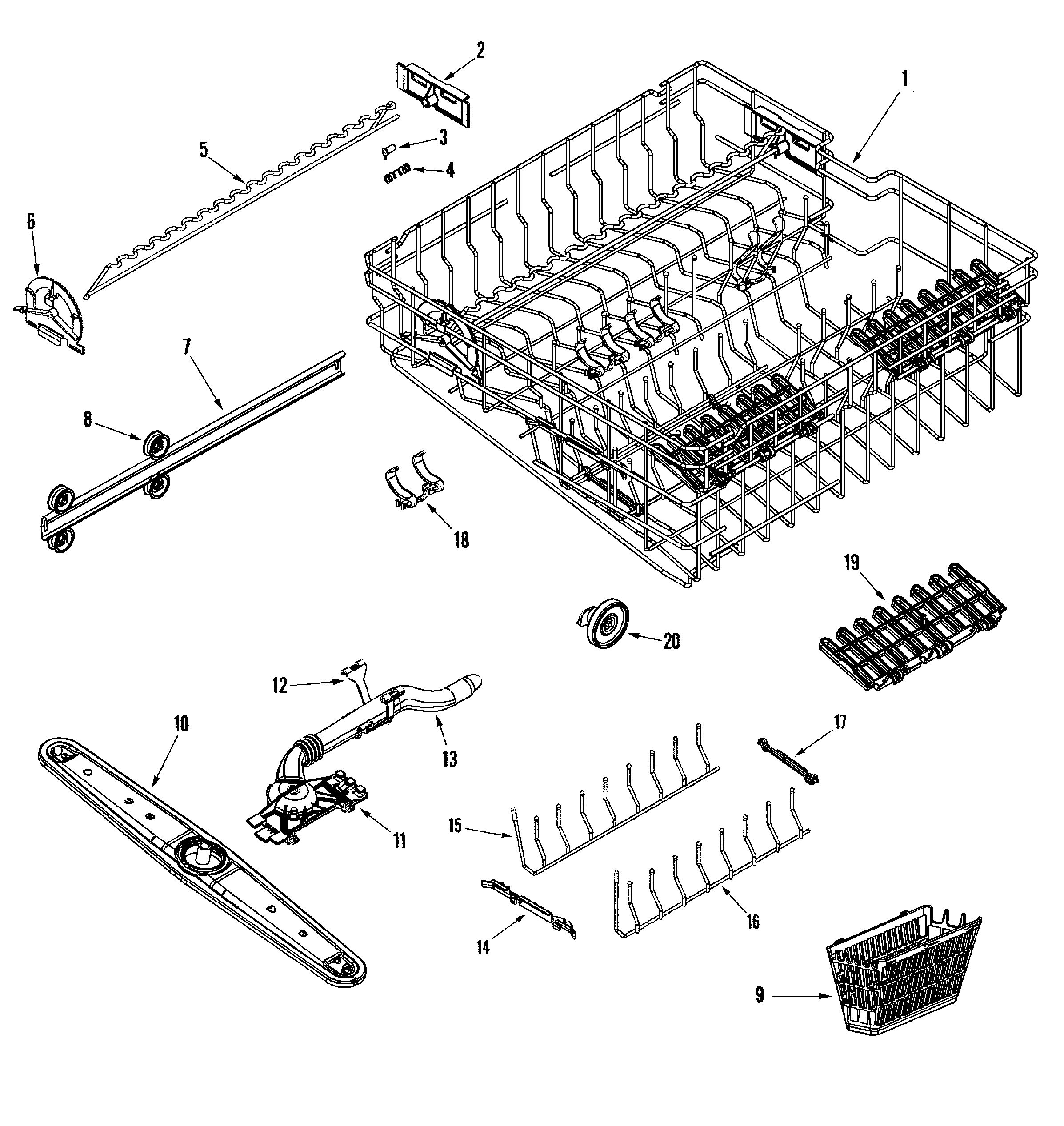 RACK ASSEMBLY (UPR) Diagram & Parts List for Model