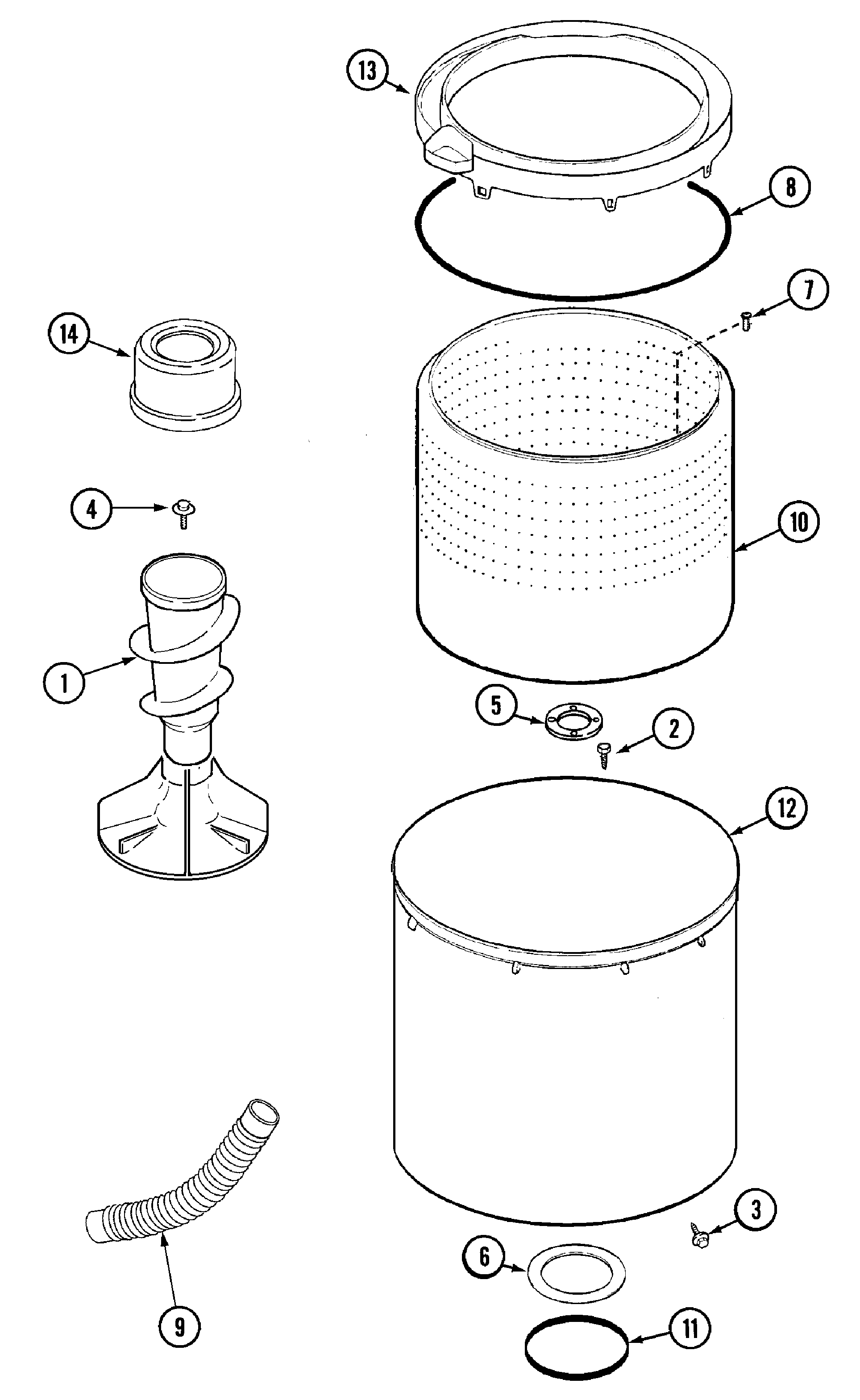 TUB Diagram & Parts List for Model mav7557eww Maytag-Parts
