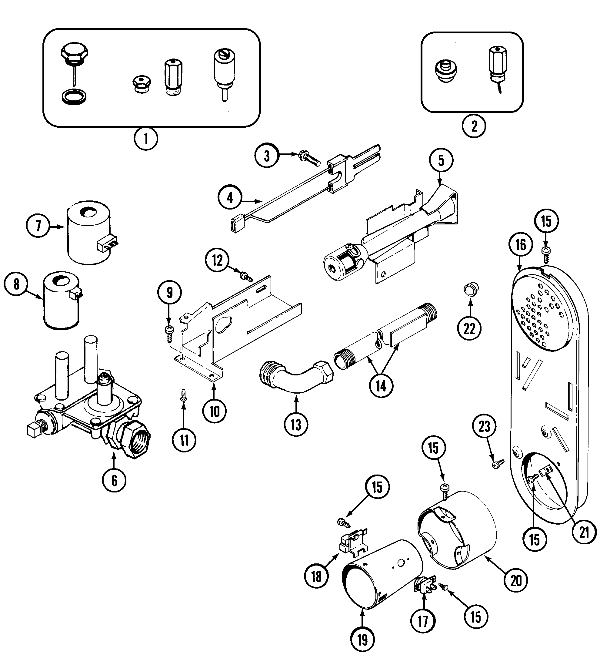 GAS VALVE Diagram & Parts List for Model mdg4000aww Maytag